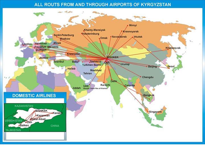 Geography of airways | Kyrgyzaeronavigatsia